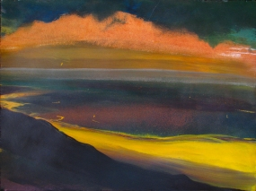 2011 - Yellow River, Blue Sky, Pink Cloud, Black Earth - Latex and Spraypaint on BFK