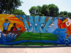 Summer 2010 - Cedar Rapids Freedom Fest Mural - 8x24ft. - Painted in 4 1/2 hours - Spraypaint