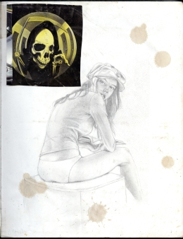(Sketchbook 2005-7) - 02 - Victoria's Secret Ad Study - Graphite & NewYorker Clippin