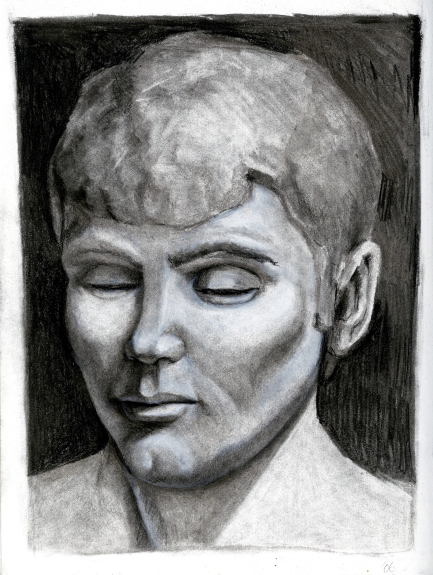 (Sketchbook 2005-7) - Bust Drawing- Tommy T with A Small Mouth - Study Drawing of Tommy T Bust - Charcoal