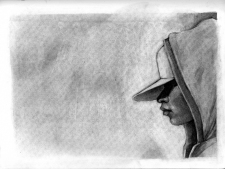 (Sketchbook 2005-7) - Hat and Hood - Charcoal