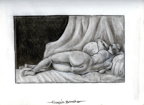 (Sketchbook 2005-7) - Me thinks this a Big Booty Girl at Rest - Boucher Study - Charcoal