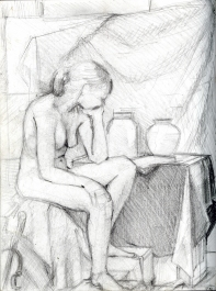 (Sketchbook 2005-7) - Nude Study Life Drawing - Graphite