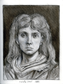 (Sketchbook 2005-7) - Portrait Of A Girl - Gustav Dore - Charcoal
