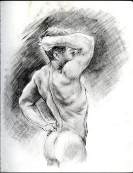 (Sketchbook 2005-7) - Sargent Male Nude Study - Graphite