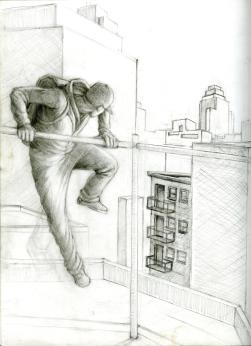 (Sketchbook 2005-7) - Street02 - High Writer - Graphite