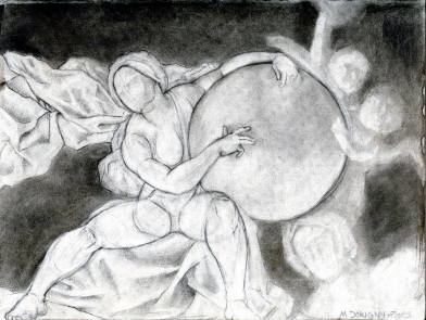 (Sketchbook 2005-7) - Study of A Woman Sitting with A Huge Ball and Cape Whilst Putti Fly About - M Dorigny