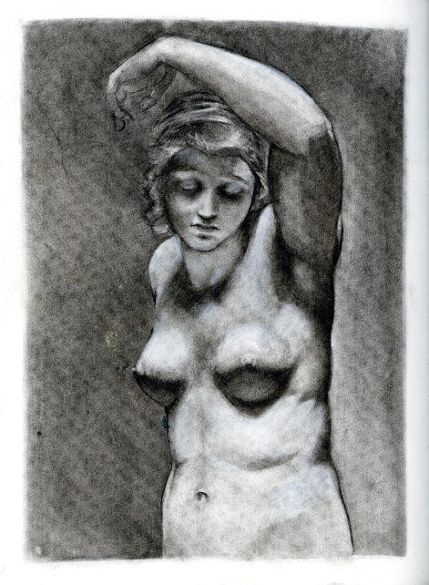 (Sketchbook 2005-7) - The Lazy Ballerina (Nude) - Charcoal
