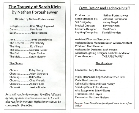 The Tragedy of Sarah Klein - Program (Inside)