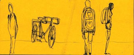 Bike at Bus Stop Sketch